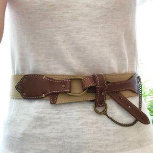 Ralph Lauren Leather Chain Waist Belt Steampunk L